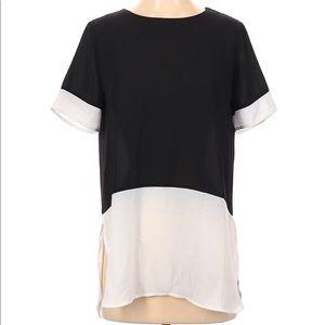 Sweet Rain Solid Black White Short Sleeve Blouse S
